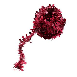 XMAS 16 MINI TINSEL IN TUB RED 3M