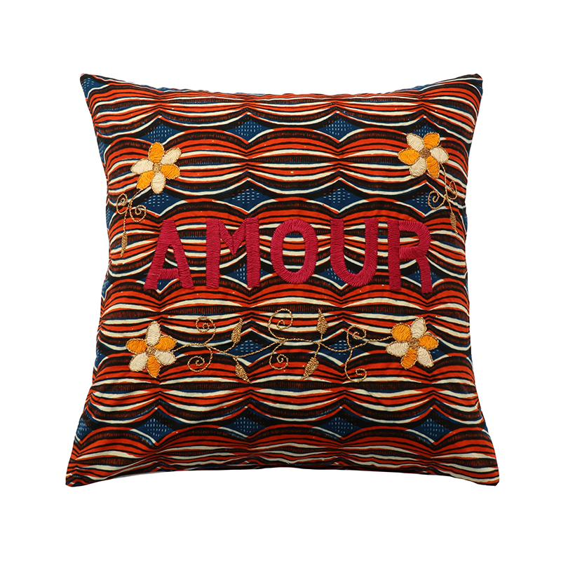 AFRICAN EMBROIDERED CC 45x45 AMOUR 01004