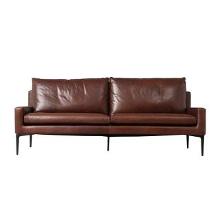 ELSA 3S SOFA LEATHER BROWN