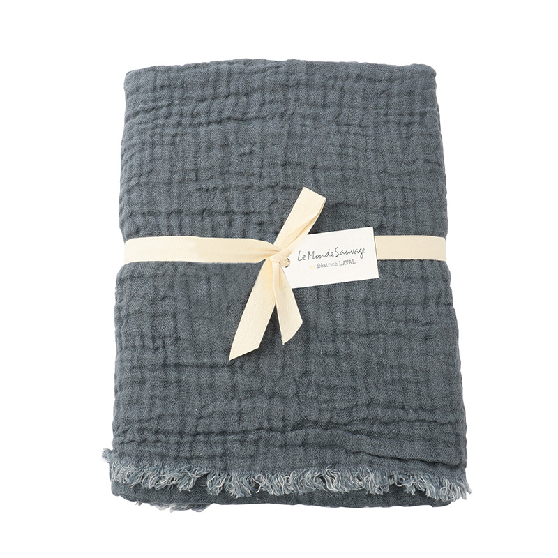 CRUMPLED LINEN BEDSPREAD 160X220 DENIM