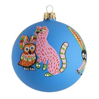 XMAS 17 MAYA ANIMALS BAUBLE BLUE