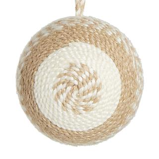 XMAS 17 CORDED NATURAL JUTE BALL 7CM