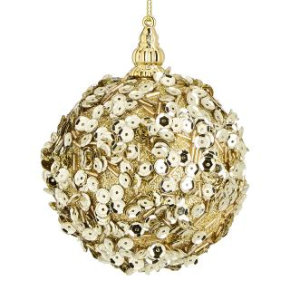 XMAS 17 GOLD SEQUIN COVERED BALL GOLD 8CM