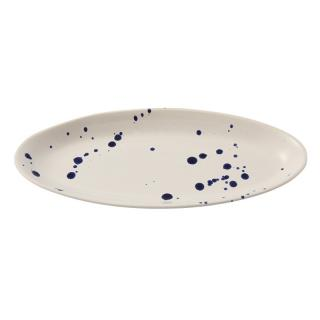 BLUE SPATTER CERAMIC FLAT OVAL TRAY