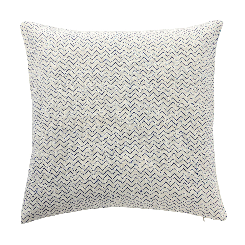 ZIG ZAG CUSHION COVER WHITE/BLUE
