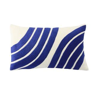CURVED MOTIF CUSHION COVER COBALT