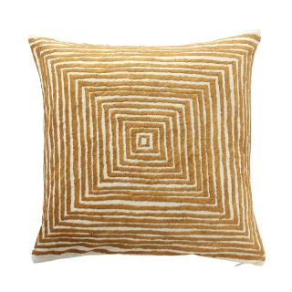 OPTIC SQUARE CUSHION COVER  IVORY/OCHRE