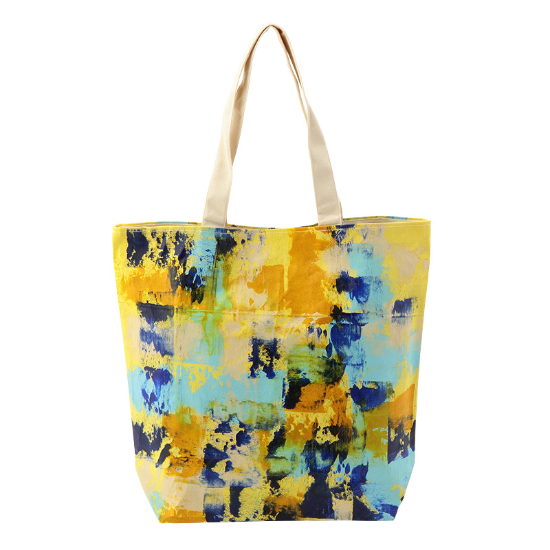 PAINTED TOTE BLUE & YELLOW
