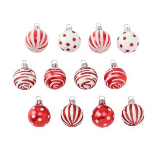 12X3CM RED&WHITE MIXED BAUBLES