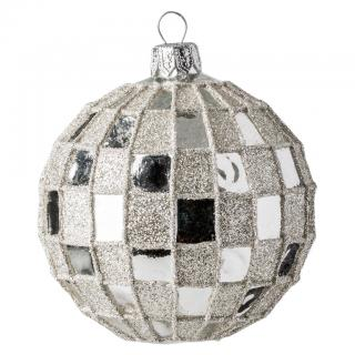 SILVER FACETED BALL 8CM