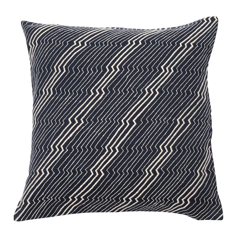 JAPANESE ZIG ZAG CUSHION COVER 45X45 INDIGO