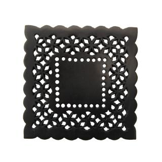 BLACK RESIN PERFORATED LACE COASTER