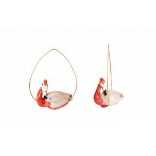 NACH CREOLES FLAMINGO EARRINGS(PIERCE)