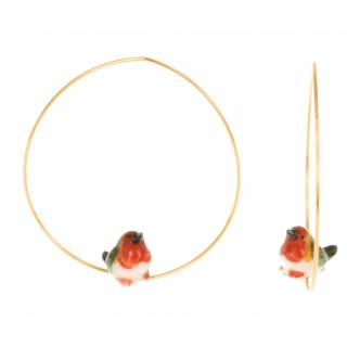 NACH CREOLES ROBIN BIRD EARRINGS(PIERCE)