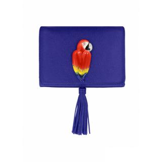 NACH BLUE CLUTCH BAG WITH RED PARROT