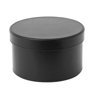 LEATHER ROUND BOX LARGE BLACK DIA.27XH16