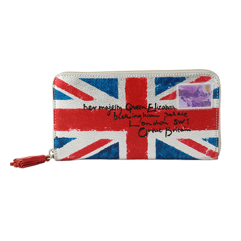 COXCOMB LONG WALLET UNION JACK SILVER
