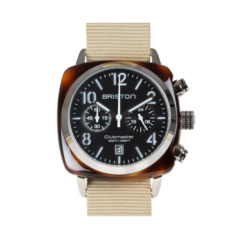 BRISTON WATCH CHRONO TORTOISE SHELL BLACK