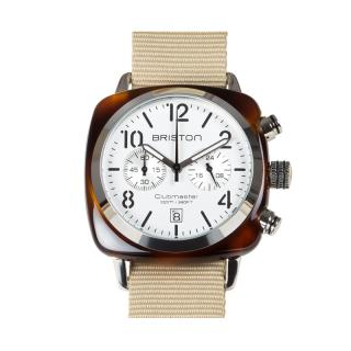BRISTON WATCH CHRONO TORTOISE SHELL WHITE