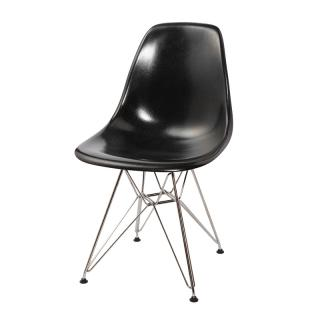 EAMES FIBER SHELL BLACK EIFFEL CHROME LEG