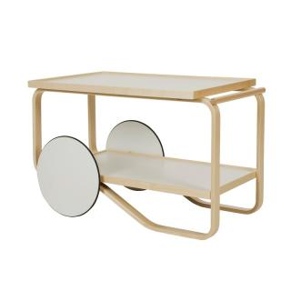 TEA TROLLEY WHITE LAMINATE