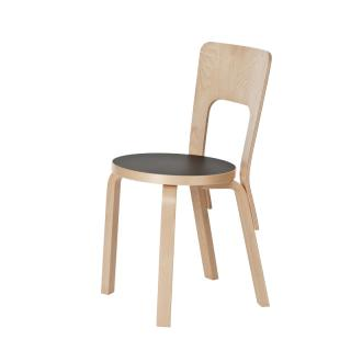 ARTEK 66 CHAIR BLACK LINOREUM
