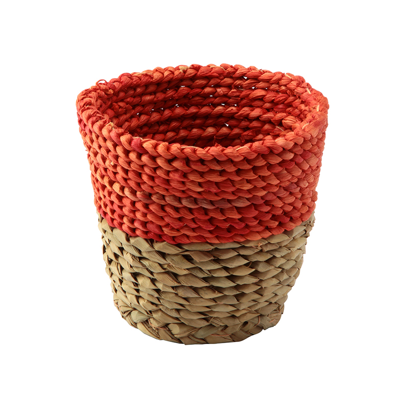 SERAX RAFFIA BASKET NATURAL & ORANGE XS / B0913101
