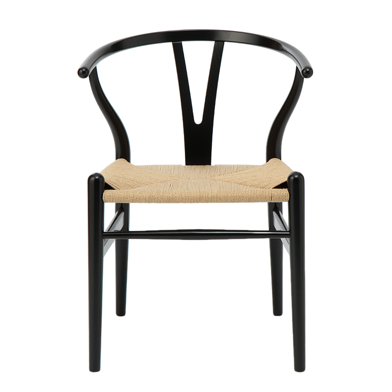 CH24 Y CHAIR BEECH BLACK / NATURAL PAPER CORD SEAT SH45