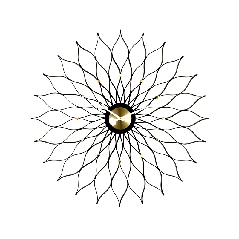 SUNFLOWER CLOCK BLACK