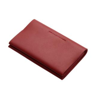 POSTALCO BUSINESS CARD HOLDER FAB/CALFSKIN SIGNAL RED