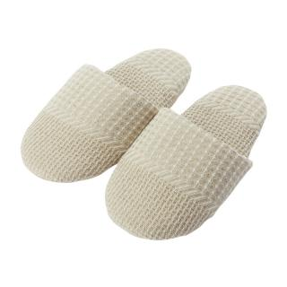 LINEN COTTON WAFFLE SLIPPERS NATURAL