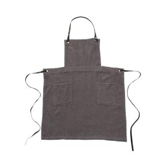 HERRINGBONE COTTON BRUSH APRON GREY