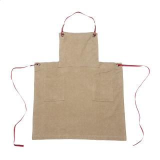 HERRINGBONE COTTON BRUSH APRON BROWN
