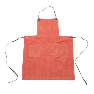 HERRINGBONE COTTON BRUSH APRON RED