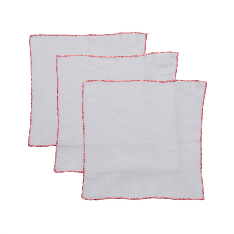 RED EDGE MICRO WAFFLE DISH CLOTH 3P SET