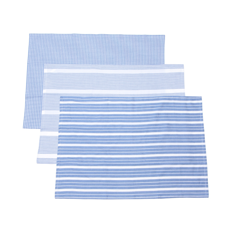 3 STRIPE TEA CLOTH SET WHITE / PALE BLUE