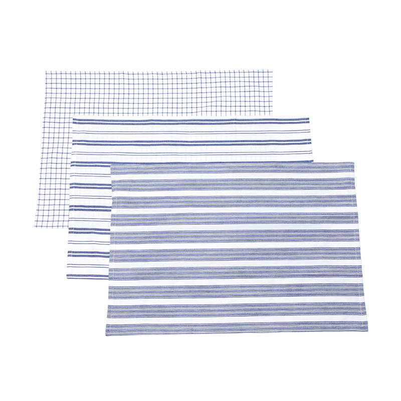 3 PATTERN TEA CLOTH SET WHITE / NAVY