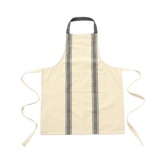 COTTON SLUB APRON NATURAL BLACK