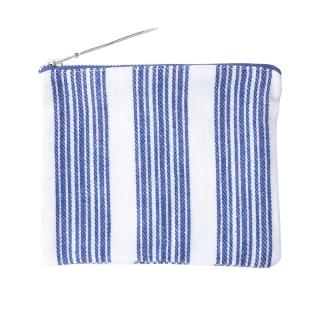 FLAT POUCH WHITE / NAVY PATTERN SMALL