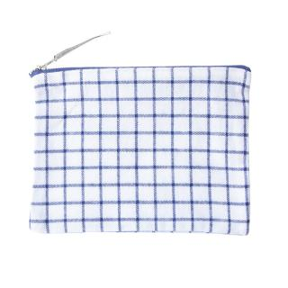 FLAT POUCH WHITE / NAVY PATTERN MEDIUM