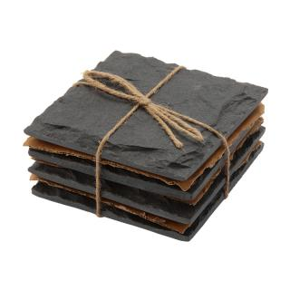 SQUARE BLACK SLATE COASTER 4P SET