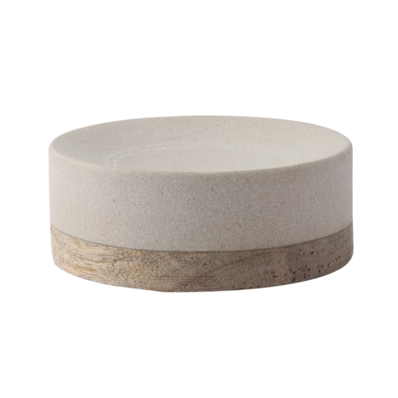 SANDSTONE & MANGO WOOD SOAP DISH