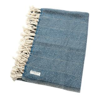 ALPACA COTTON HERRINGBONE THROW INDIGO