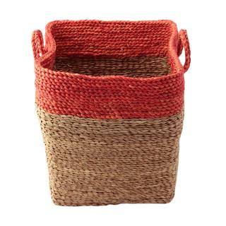 SERAX STRAW BASKET LOW SQUARE ORANGE