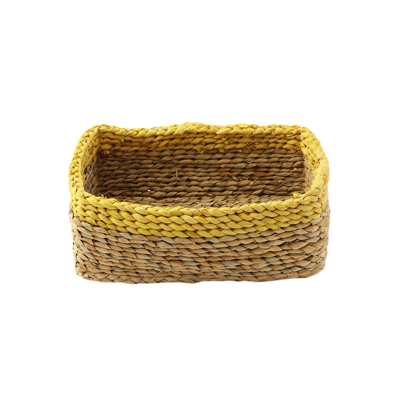 SERAX STRAW BASKET LOW RECTANGLE YELLOW S