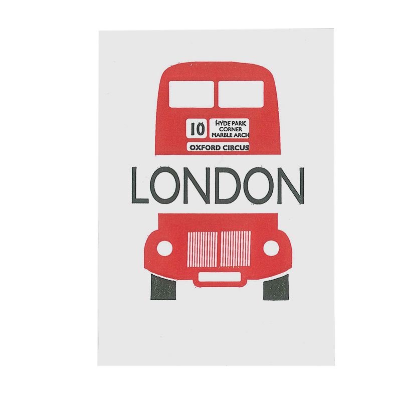 LETTERPRESS CARD LONDON BUS