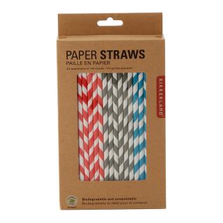 KIKKERLAND STRIPE ASSORTMENT PAPER STRAWS 2929S