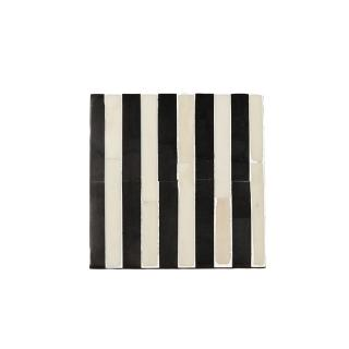 BLACK&WHITE STRIPE INLAID SQUARE COASTER