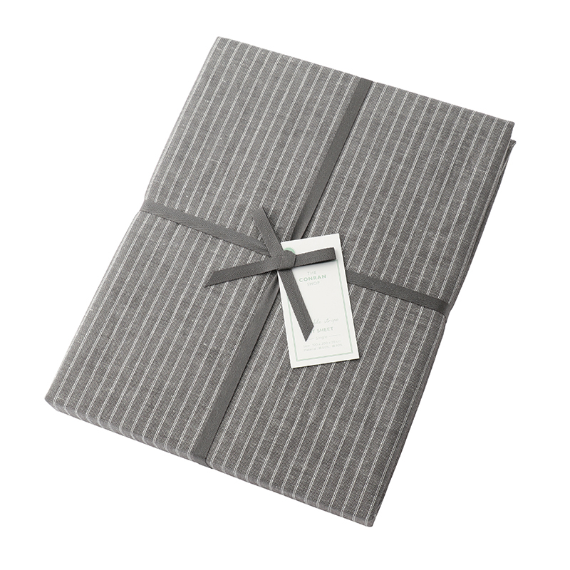 DOUBLE STRIPE FIT SHEET GREY SINGLE