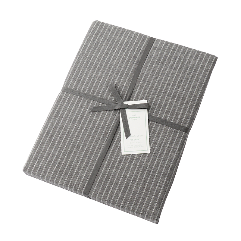 DOUBLE STRIPE FIT SHEET GREY SEMI DOUBLE